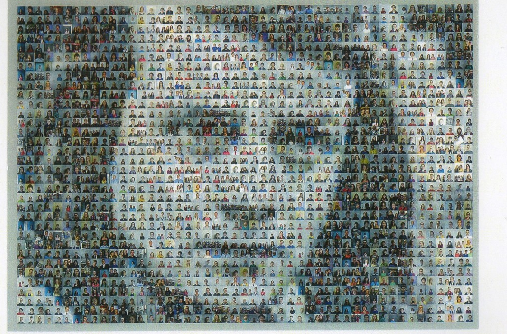 Image of Sophie Scholl, based on a photograph, made with 900  photos arranged by high school students in a class on 'civic courage' , Ulm Germany.
